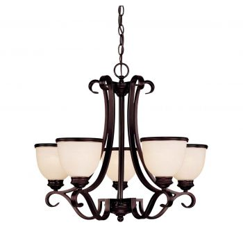 "Savoy House Willoughby 25"" 5-Light Chandelier in English Bronze"