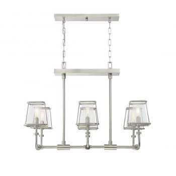 Savoy House Damascus 6-Light Oval Chandelier in Satin Nickel