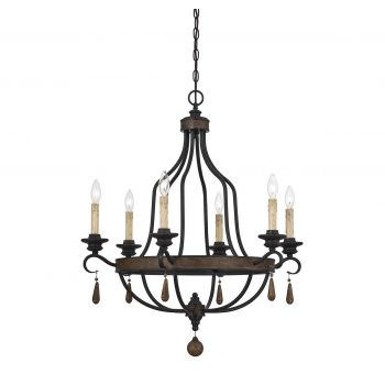 "Savoy House Kelsey 32.5"" 6-Light Chandelier in Durango"