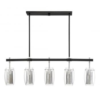Savoy House Dunbar 5-Light Island Pendant in Matte Black/Polished Chrome