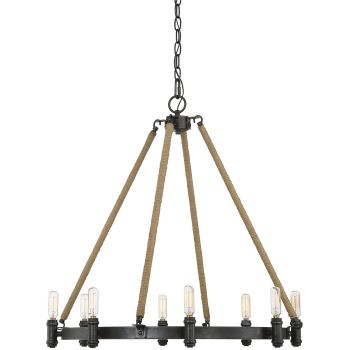 """Savoy House Piccardy 26"""" 8-Light Chandelier in w/ Rope Rustic Black"""