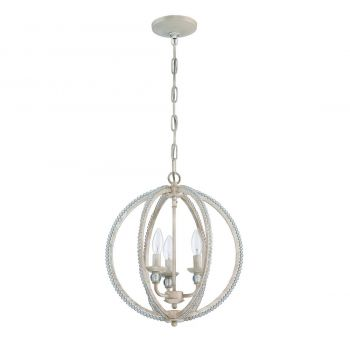 Jeremiah Mini Chandelier 3-Light Clr Crystal Chandelier in Antique Linen
