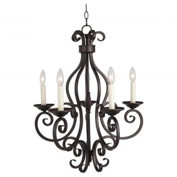 "Maxim Lighting Manor 26"" 5-Light Chandelier in Oil Rubbed Bronze"