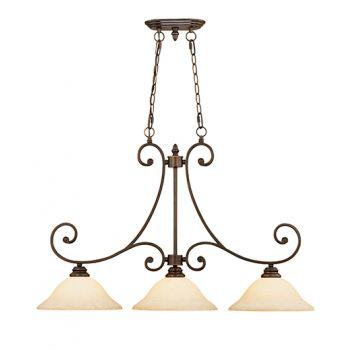 Millennium Lighting Oxford 3-Light Island in Rubbed Bronze