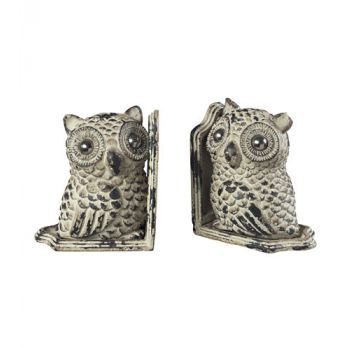 Sterling Industries Owl Book Ends in Grappa Gray
