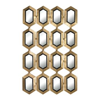 Sterling Industries Honeycomb Mirror in Gold Leaf