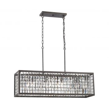 Elk Lighting Nadina 4-Light Rectangular Chandelier in Silverdust Iron