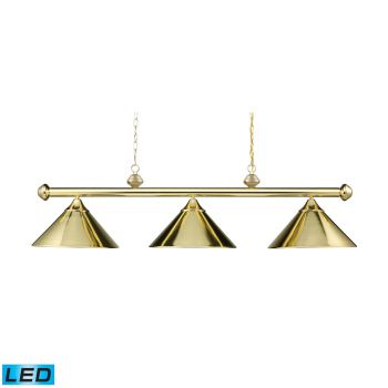 Elk Lighting Casual Traditions/Billiard/Island LED 3-Light Billiard/Island in Polished Brass