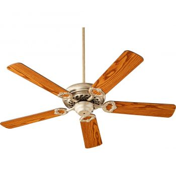 """Quorum Monticello 52"""" 5-Blade Indoor Ceiling Fan in Aged Silver Leaf"""