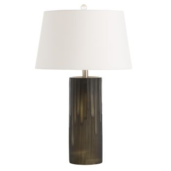 """Arteriors Dyer 26"""" Table Lamp in Hand-Etched Black Glass"""
