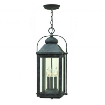"Hinkley Anchorage 23.75"" Outdoor Pendant Lantern in Aged Zinc"