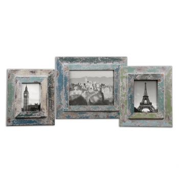 Uttermost Acheron Photo Frames in Distressed Blue/Green/Ivory (Set of 3)