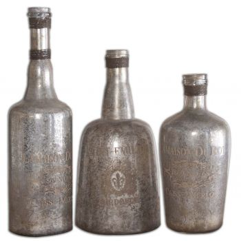 Uttermost Lamaison Set of 3 Mercury Glass Bottles