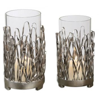 """Uttermost Corbis 10.25"""" Candleholders in Silver (Set of 2)"""