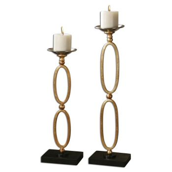 """Uttermost Lauria 24"""" Chain Link Candleholders in Gold Leaf (Set of 2)"""