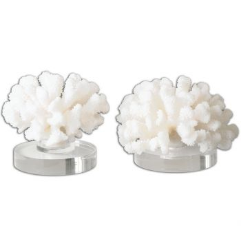 "Uttermost Hard Coral 7"" Sculptures in Textured Cream (Set of 2)"