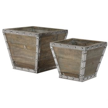 "Uttermost Birtle 17.25"" Containers in Reclaimed Fir Wood (Set of 2)"