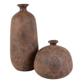 """Uttermost Frederico 17.75"""" Vases in Rustic Smoked Terracotta (Set of 2)"""