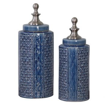 """Uttermost Pero 17.5"""" Urns in Sapphire Blue (Set of 2)"""