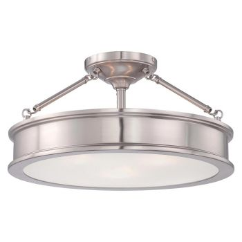 Minka Lavery Harbour Point 3-Light Semi-Flush in Brushed Nickel