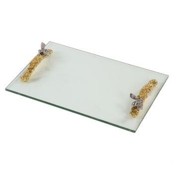 "Uttermost Hive 17.75"" Clear Glass Tray in Bright Gold"