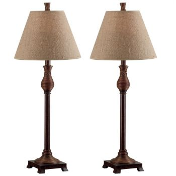 Kenroy Home Santiago Buffet Lamp 2-Pack in Natural Reed Finish