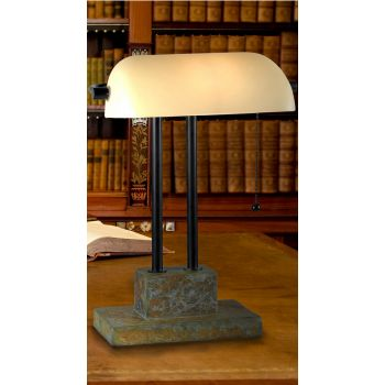 Kenroy Home Greenville Banker Lamp in Natural Slate