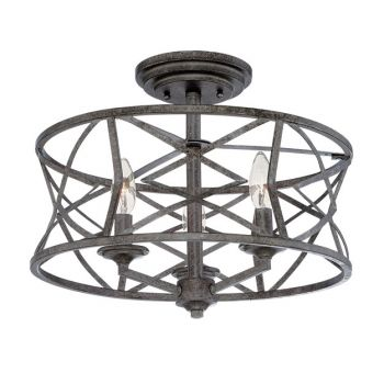 Millennium Lighting Lakewood 3-Light Semi-Flush in Antique Silver