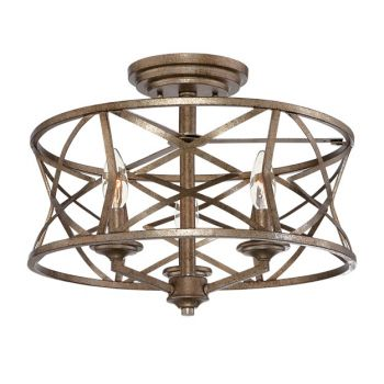 Millennium Lighting Lakewood 3-Light Semi-Flush in Vintage Gold