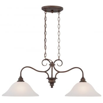 """Jeremiah Linden Lane 35.4"""" 2-Light White Frosted Island in Old Bronze"""