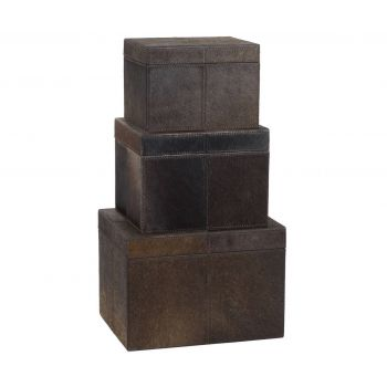 Dimond Home Nested Pony Box in Brown Finish