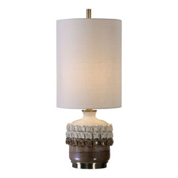 "Uttermost Elsa 25"" Accent Lamp in Iridescent Rust Brown And Gloss Ivory"