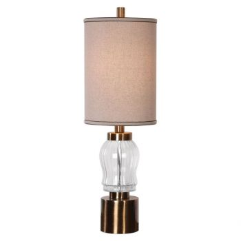 """Uttermost Manuela 34.75"""" Ribbed Glass Accent Lamp in Antique Brass"""