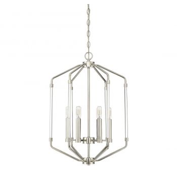 "Savoy House Reed 16"" 6-Light Foyer Pendant in Polished Nickel"