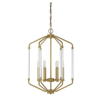 "Savoy House Reed 16"" 6-Light Foyer Pendant in Warm Brass"