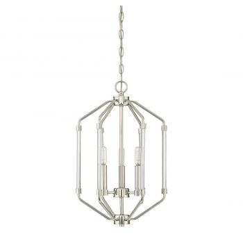 "Savoy House Reed 14"" 3-Light Foyer Pendant in Polished Nickel"