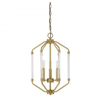 "Savoy House Reed 14"" 3-Light Foyer Pendant in Warm Brass"