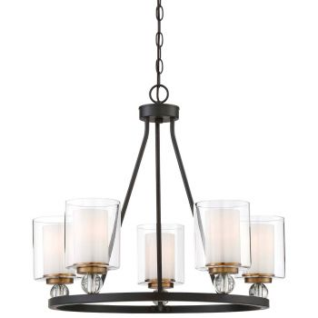 "Minka Lavery Studio 5 25.5"" 5-Light Chandelier in Painted Bronze"