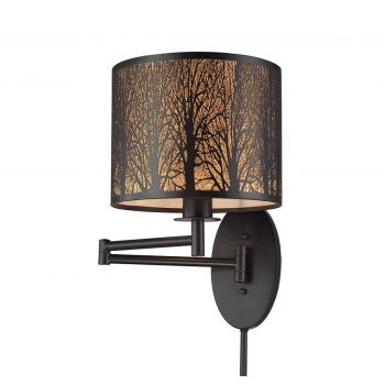 Elk Woodland Sunrise 1-Light Swingarm in Oil Rubbed Bronze