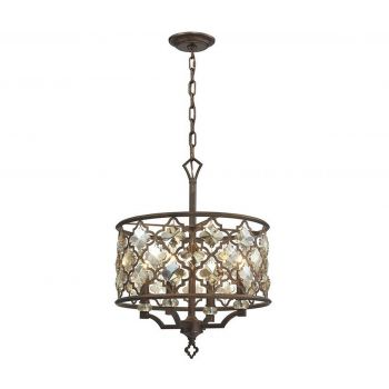 "Elk Armand 22"" 4-Light Crystal Pendant in Weathered Bronze"