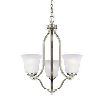 """Sea Gull Emmons 19.5"""" 3-Light Satin Etched Chandelier in Brushed Nickel"""