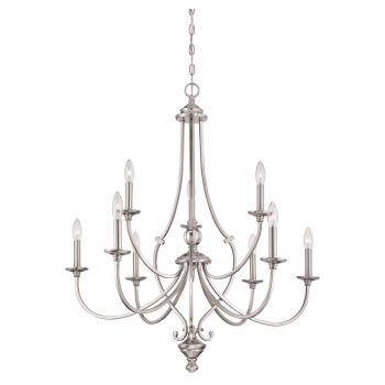 Minka Lavery Savannah Row 9-Light Chandelier in Brushed Nickel