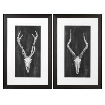 Uttermost Rustic European Mount Prints in Black Wooden Frame