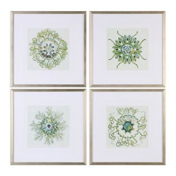 Uttermost Organic Symbols Prints in Gold Leaf Frames (Set of 4)