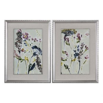 Uttermost Parchment Flower Field Prints in Silver Leaf Frame (S/2)