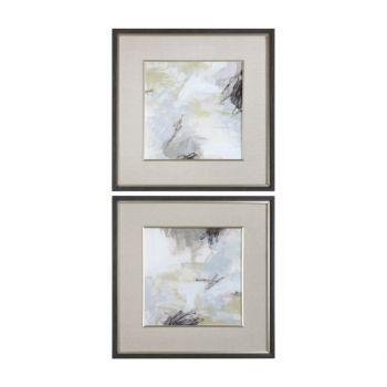 "Uttermost Abstract Vistas 32.5"" Prints in Charcoal Faux Wood Frame (S/2)"