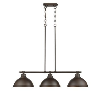 Golden Lighting Duncan 3-Light Linear Pendant in Rubbed Bronze w/ Rubbed Bronze Shades