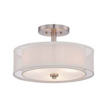 Minka lavery parsons studio 3 light semi flush in brushed nickel
