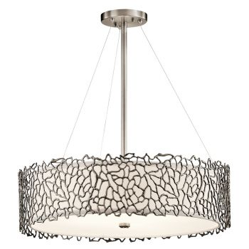 "Kichler Silver Coral 4-Light 22"" Chandelier Round Pendant in Classic Pewter"