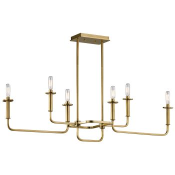 Kichler Alden 6-Light Double Linear Chandelier in Natural Brass